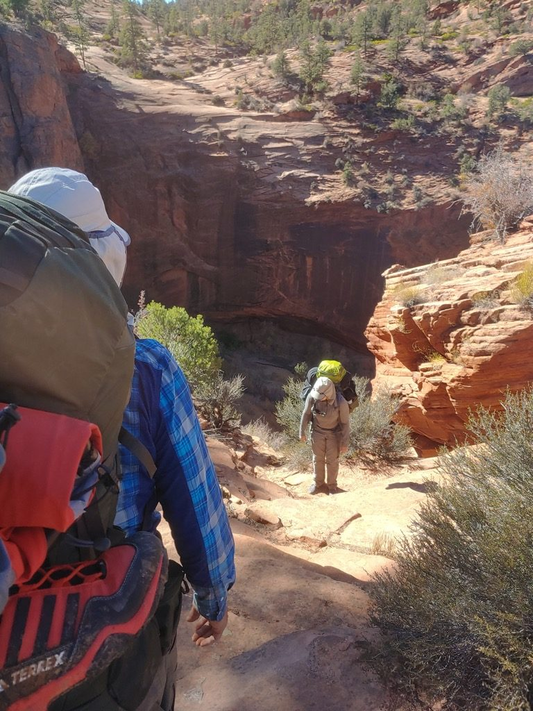 Hiking while backpacking Zion's backcountry in Southern Utah